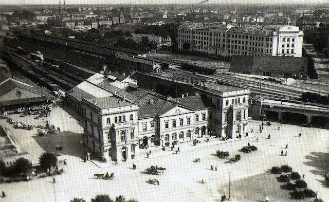 1925 год. Рига. Привокзальная площадь и здание вокзала
