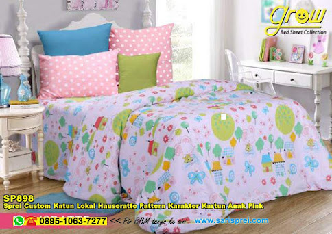 Sprei Custom Katun Lokal Hauseratte Pattern Karakter Kartun Anak Pink