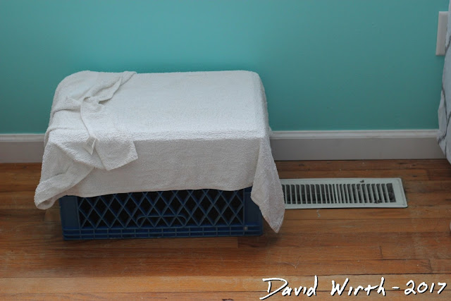 free humidifier, wet towel on heat vent, milk crate, winter, air, blow