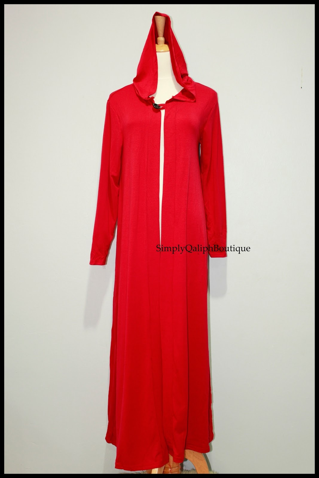 Long Hooded Cardigan (Red) | Simply Qaliph Boutique