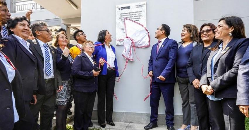 MINEDU: Ministra de Educación inaugura nueva infraestructura del colegio San Luis María de Monfort, en Chaclacayo