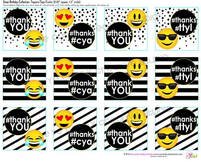 emoji birthday toppers, #thanks, #cya, #ttyl, emoji party toppers
