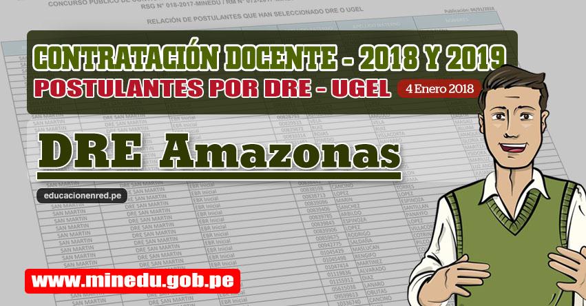DRE Amazonas: Lista de Postulantes por UGEL DRE - Contrato Docente 2018 (.PDF) www.drea.gob.pe