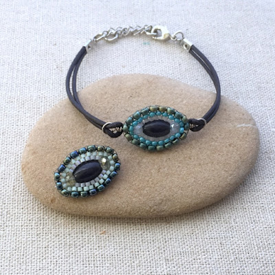 beaded evil eye leather bracelet