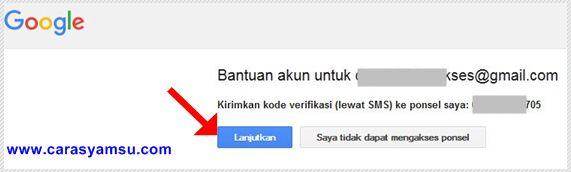 Kirimkan kode verifikasi lewat sms ke pnsel saya