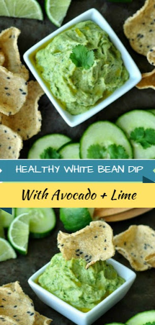 Healthy Avocado Cilantro White Bean Dip