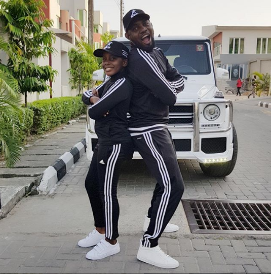 AY Makun and daughter rock matching outfits