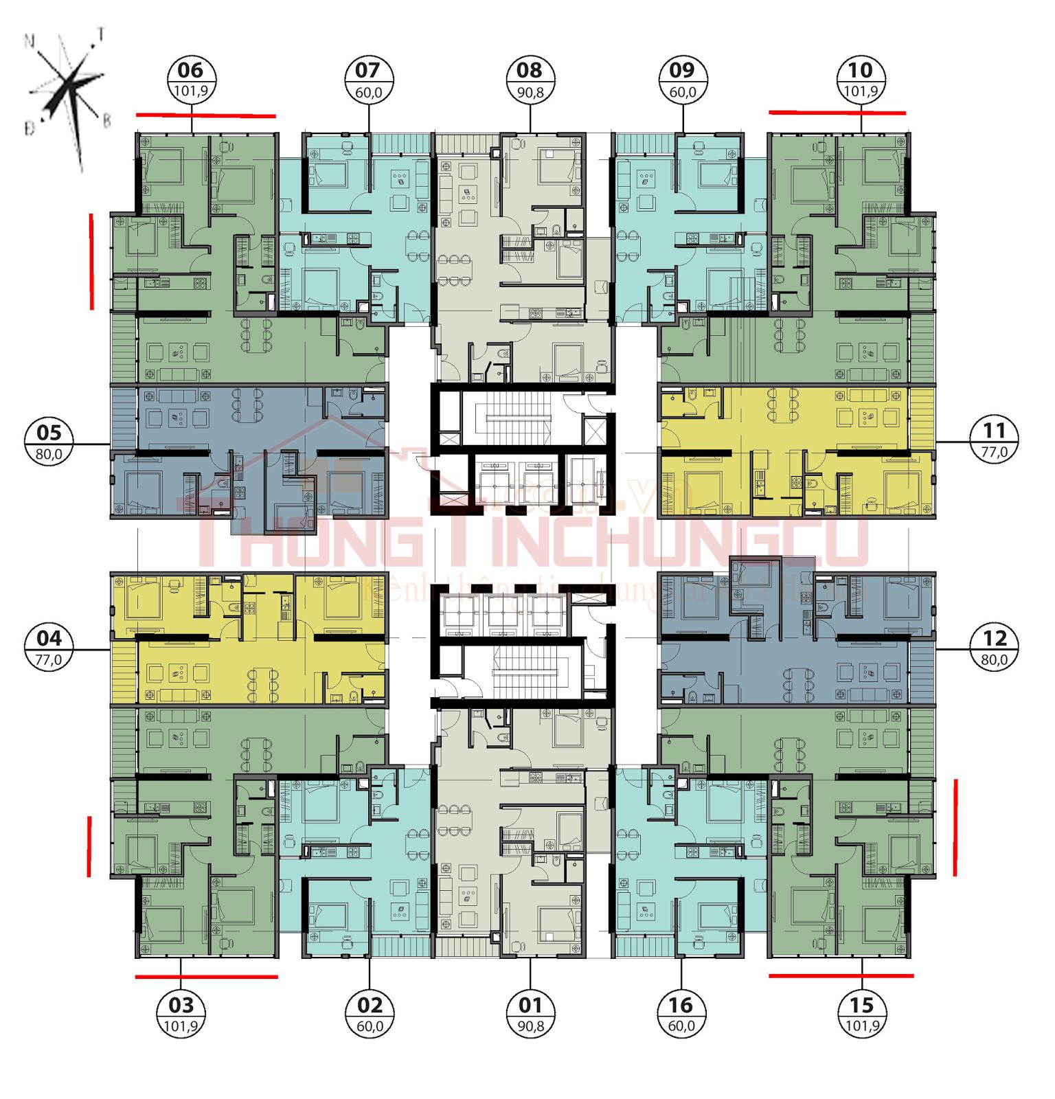 Mặt bằng điển hình tầng 15-23 - Tòa Autumn GoldSeason