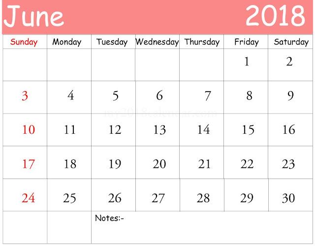Free 2018 June Printable Calendar, Blank June 2018 Calendar Printable, June 2018 Blank Calendar, June 2018 Blank Holiday Calendar, Blank Calendar for June 2018