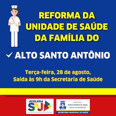 Prefeitura de SAJ inicia reforma da 9ª Unidade de Saúde nesta terça (28