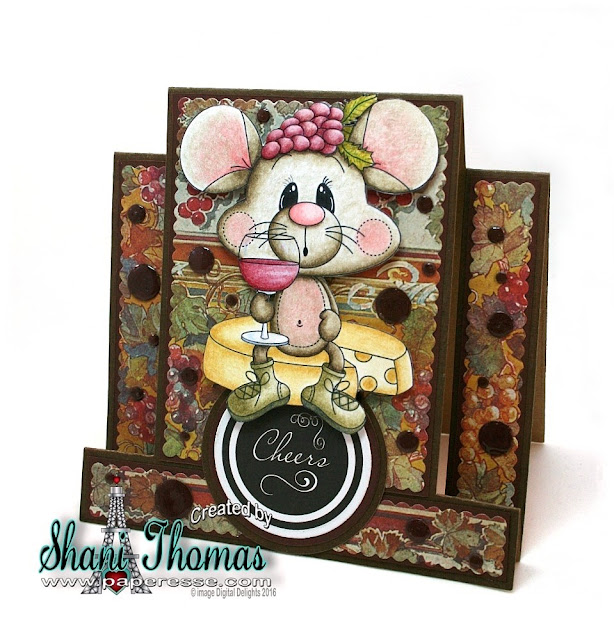 Digital Delights Tipsy Mouse birthday step card, by Paperesse.