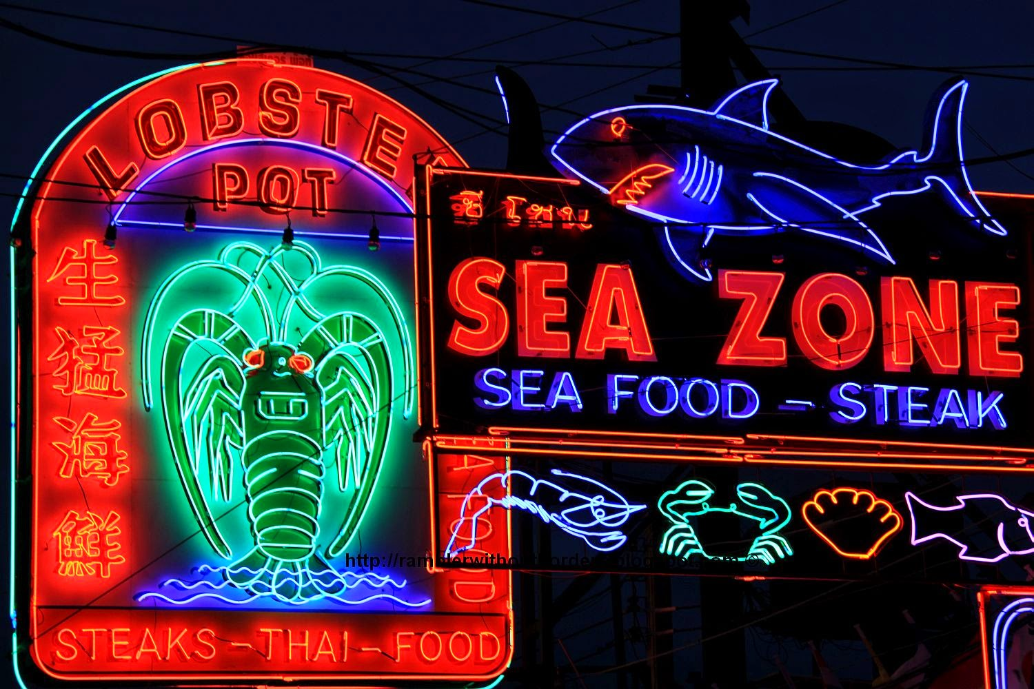 Restaurant neon lights at Walking Street, Pattaya, Thailand