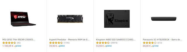 Ofertas en un portátil, dos TVs, un SSD, dos RAMs, dos teclados, un ratón y una barra de sonido
