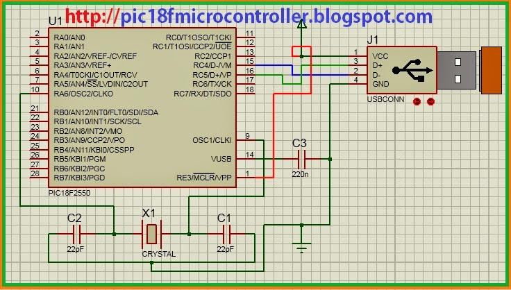 usb interfacing with pic microcontroller Circuit