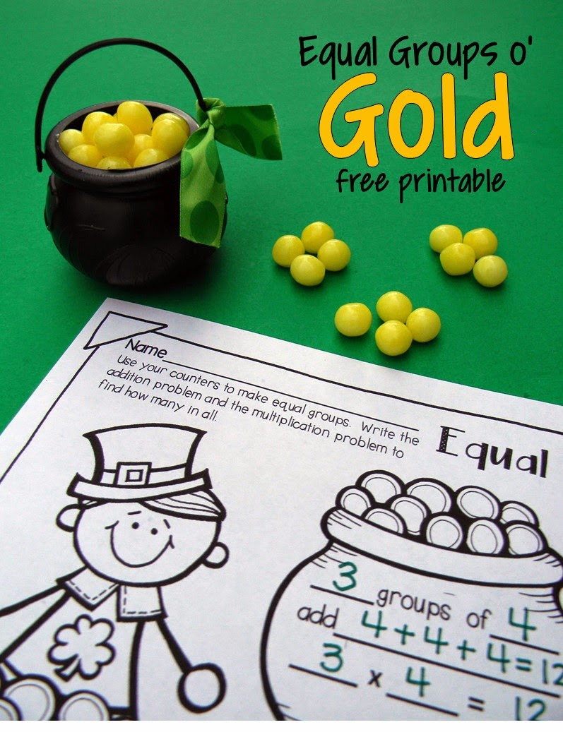St Patricks Day free printable math practice