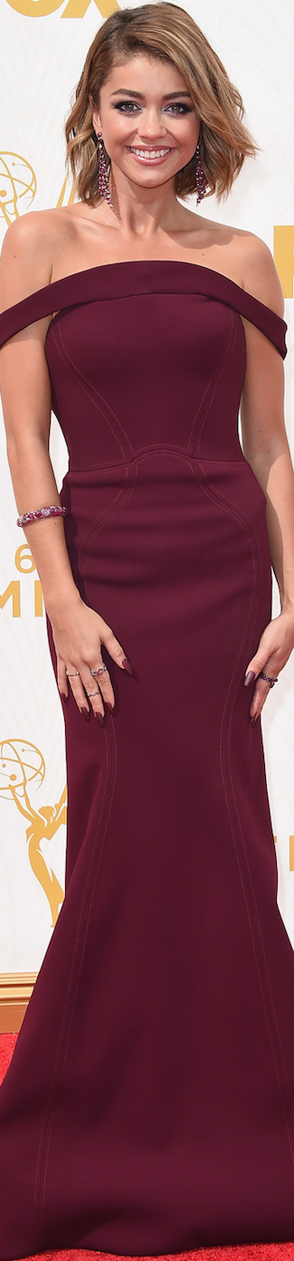 Sarah Hyland in Zac Posen 2015 Emmy Awards