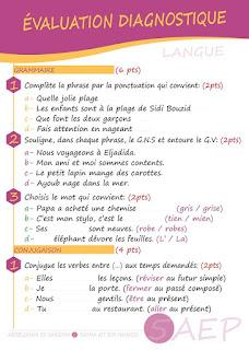 التقويم التشخيصي للسنة الخامسة فرنسية 5 AEP Evaluation diagnostic