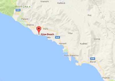 Carte plage isolée de Gjipe, coin de paradis sur la côte de l'Albanie