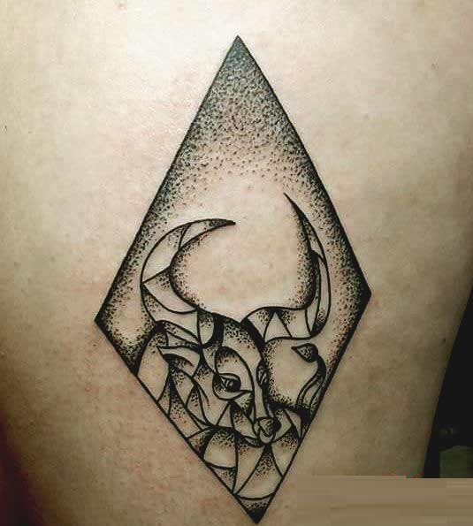 Best Taurus Tattoos on thigh for girls