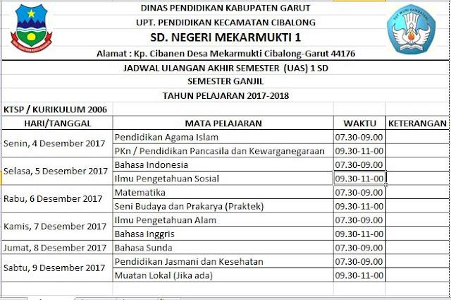 jadwal UAS dan PAS 1 SD Semester Ganjil Tahun Pelajaran 2017/2018 Library Pendidikan