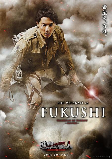 Plakat z filmu Attack on Titan na którym jest Shu Watanabe jako Fukushi