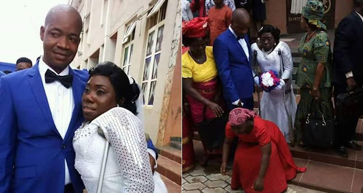 Physically disabled Nigerian woman and her boo wed (Photos) | Welcome To Dammy Martins's Blog