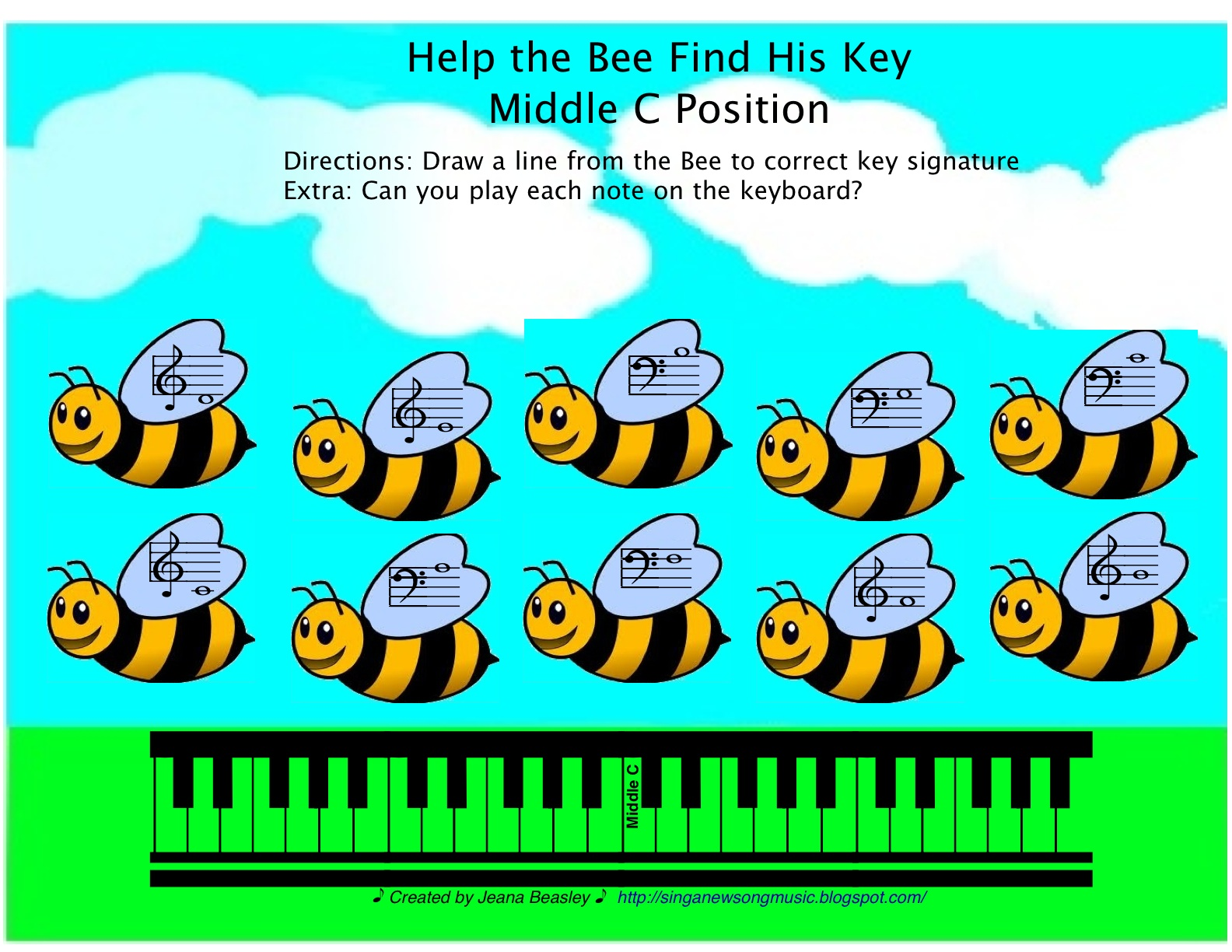 Sing A New Song Help The Bee Find His Key Note Names