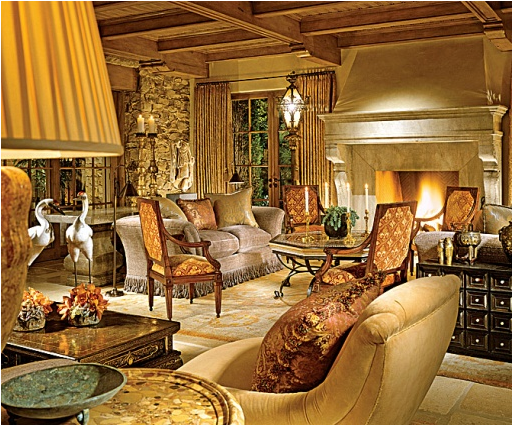 A Winter Vignette Made Old World Living Room Design Ideas