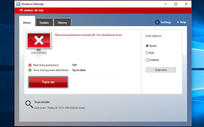 nonaktif antivirus win10