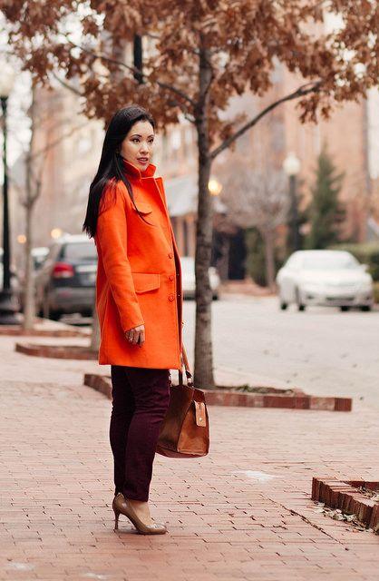 orange and burgundy street style