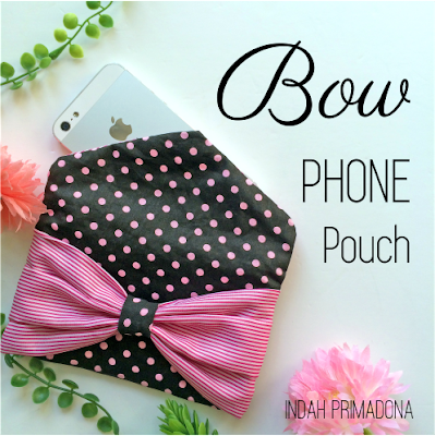 bow phone pouch, handphone case, phone pouch, polkadot, stripe