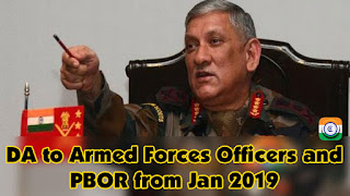 DA to Armed Forces Officers and PBOR from Jan 2019