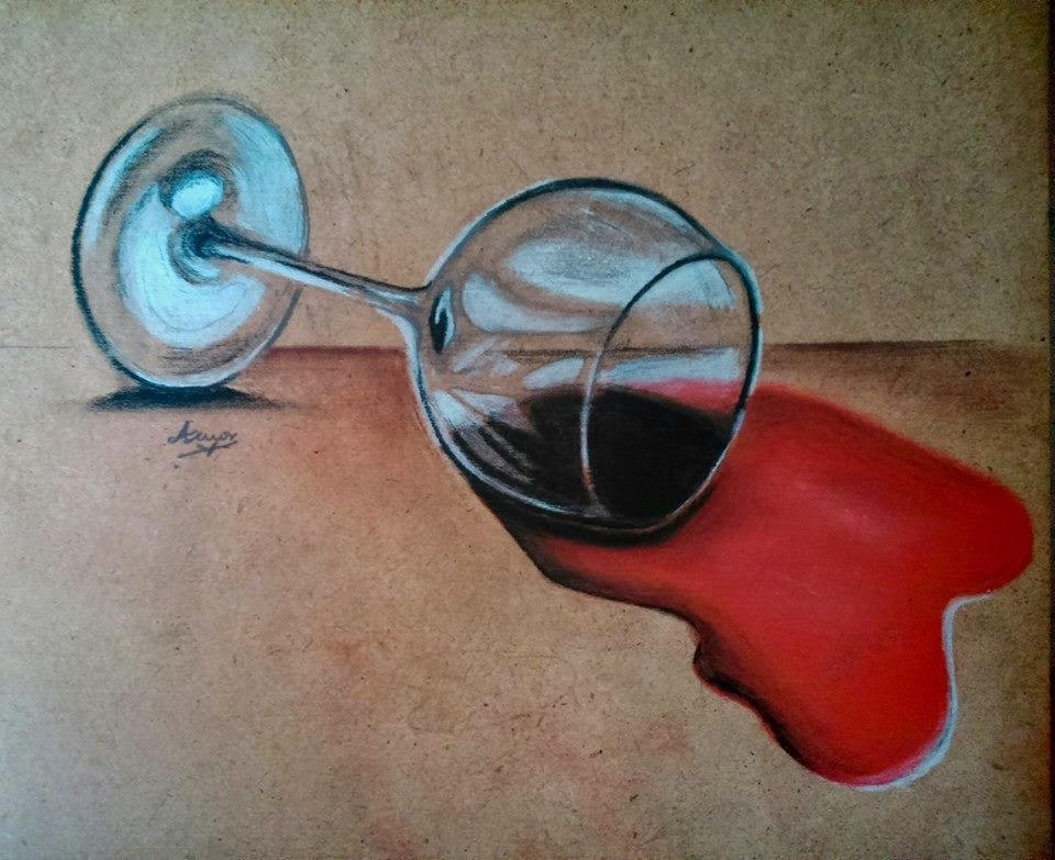 MIS DIBUJOS: Dibujo Realista 1 Copa De Vino