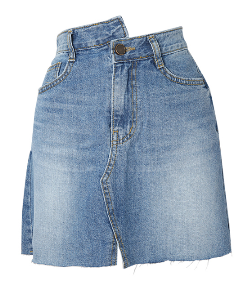 Asymmetrical Waist Frayed Denim Skirt