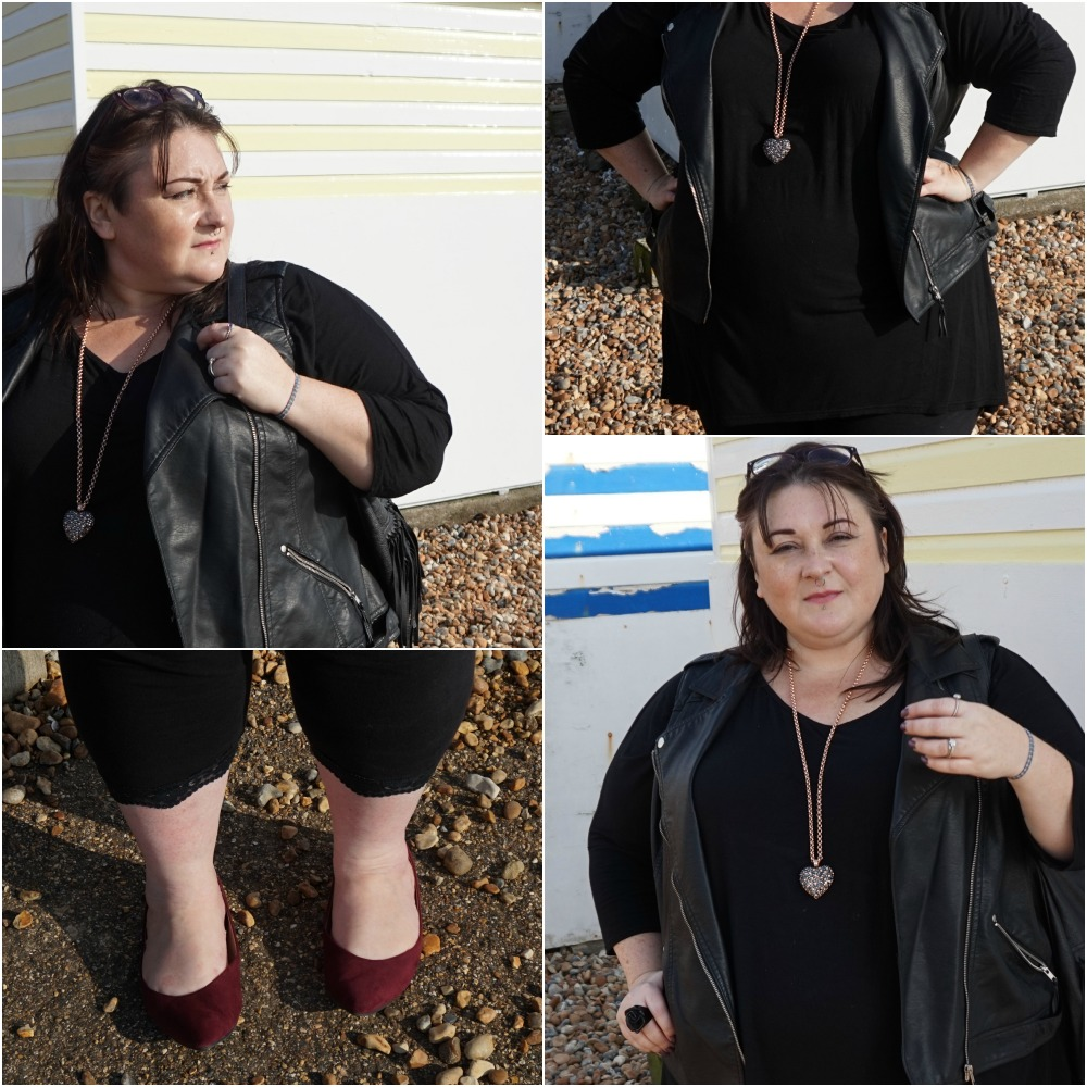 PLUS SIZE BLACK FAUX LEATHER BIKER VEST