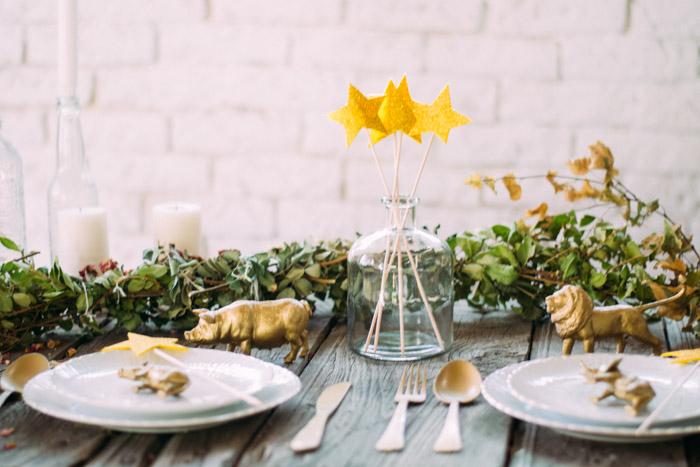 Decoración mesa dorado
