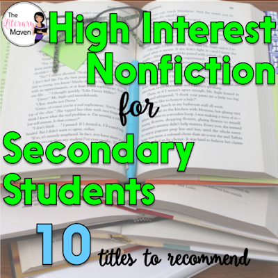As teachers, we hope that every book we put in the hands of our students is a great one, but some students prefer that great story to also be true. For these students, the story takes on greater meaning because it actually happened to a real person. Here's 10 high interest nonfiction titles that I've recently read and would recommend to secondary students.