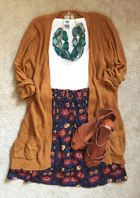 Floral skirt + long cardigan