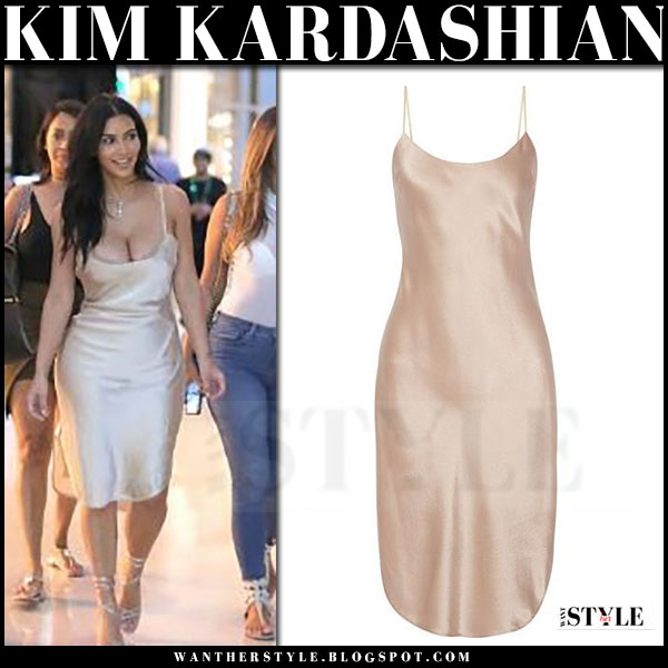 Kim Kardashian in cream silk dress maiyet what she wore