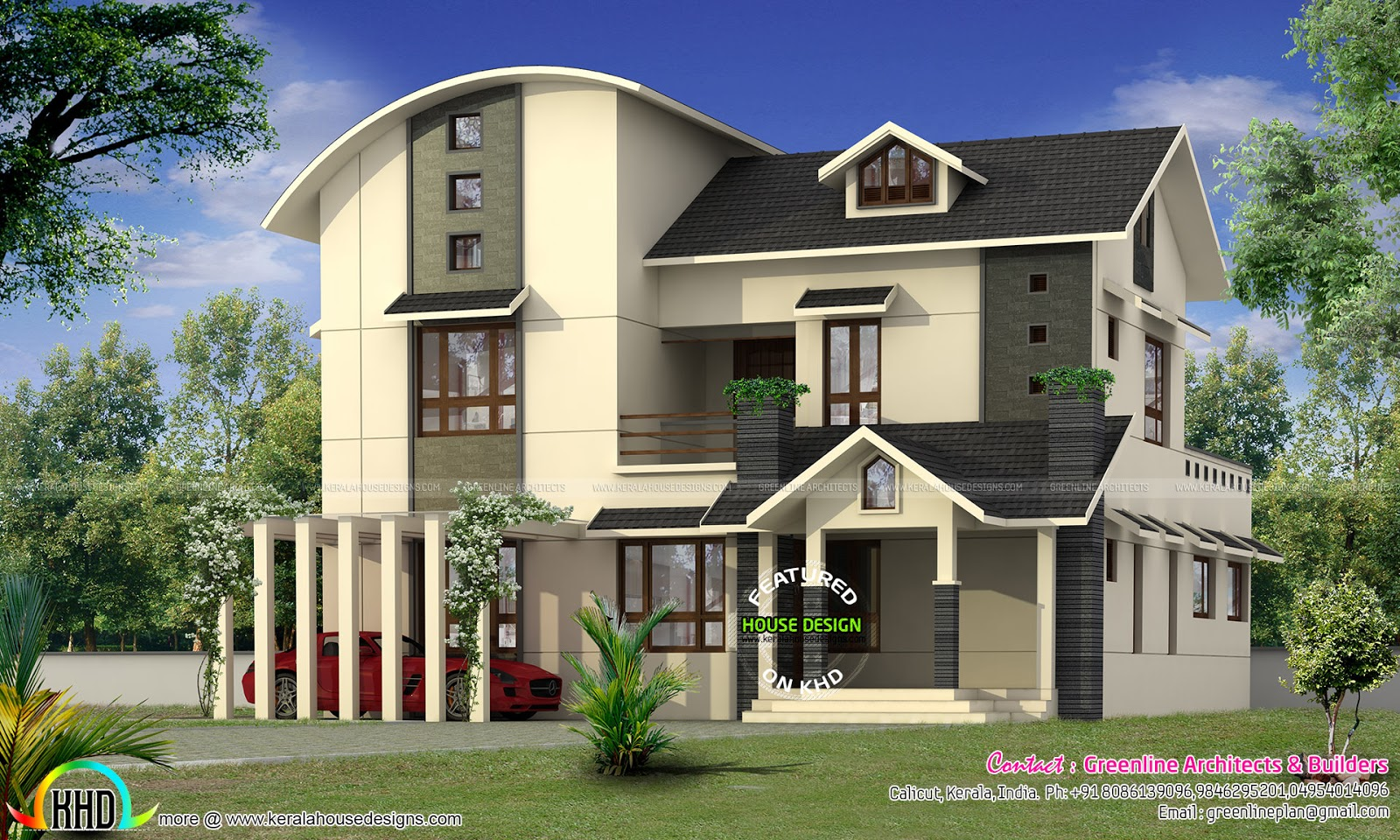 2555 sq ft curved roof home kerala home design and floor for Curved roof house plans