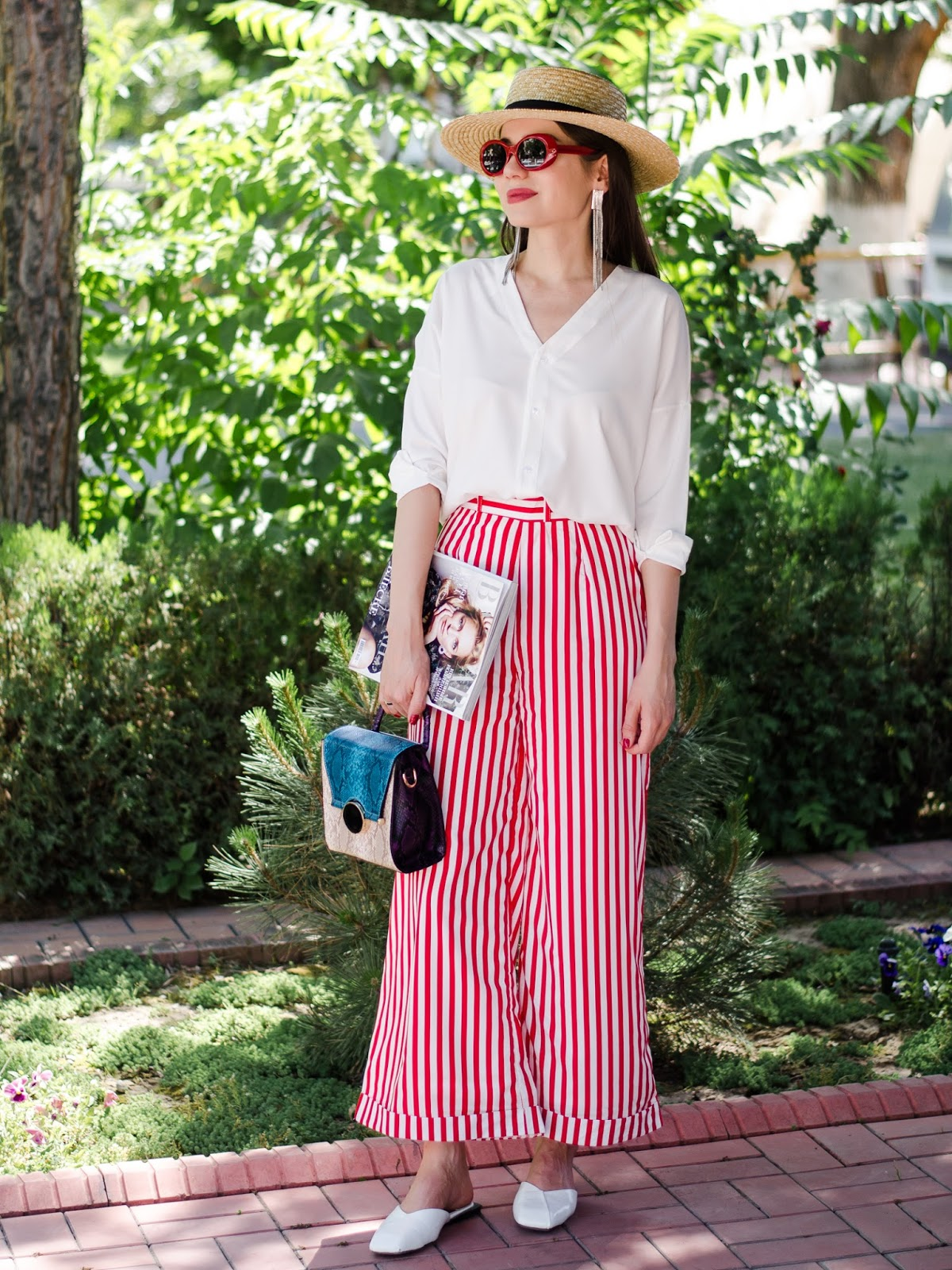 diyorasnotes diyora beta fashion blogger style outfitoftheday lookoftheday striped wide leg pants white shirt straw hat casual outfit white mules red sunglasses