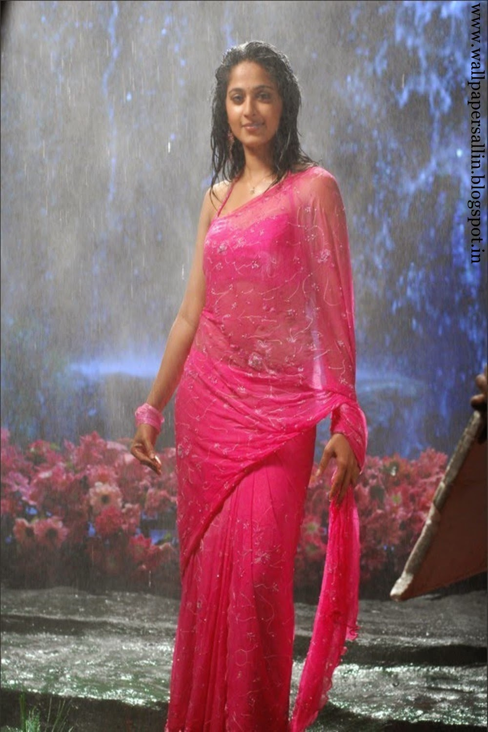 anushka photo gallery in pink saree