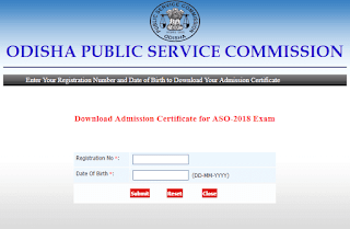 OPSC ASO Admit Card 2018 released - Download Now