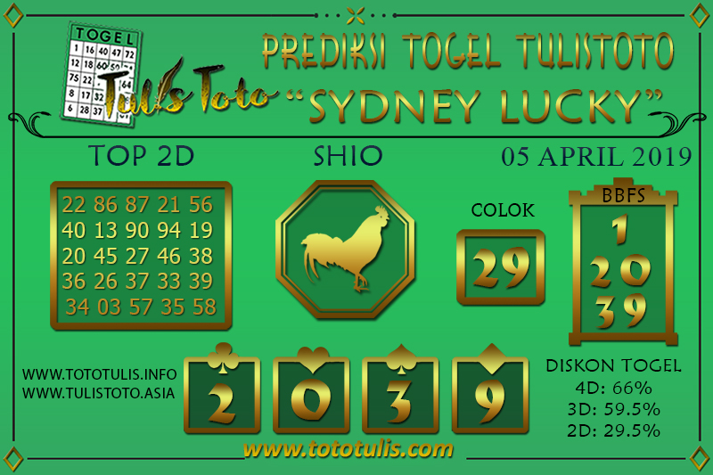 Prediksi Togel SYDNEY LUCKY TODAY TULISTOTO 05 APRIL 2019