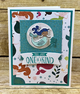 This mermaid card uses Stampin' Up!'s adorable Magical Day Bundle!  Instructions on the blog!  #StampTherapist #stampinup www.StampTherapist.com