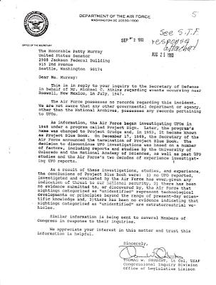 Letter to Senator Patty Murray 8-25-1993