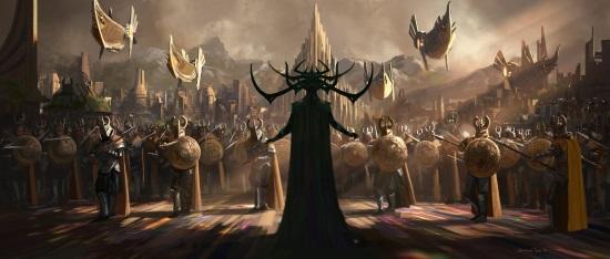 Arte conceptual de la película con la diosa Hela
