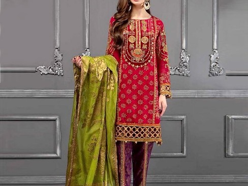 Embroidered Lawn Dress with Chiffon Dupatta – Price: Rs.1995