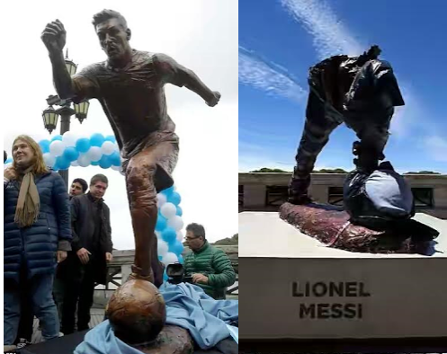 Messi's statue vandalised in Buenos Aires