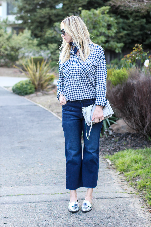 blue cropped flare jeans loafers